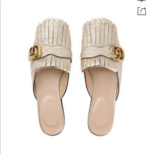 GUCCI marmont fringed-logo gold mule